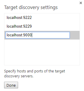 Add the network target localhost:9000 to the list.