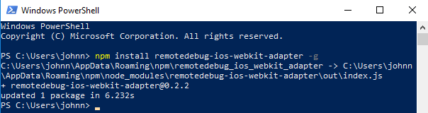 You will receive confirmation when Windows PowerShell successfully installed the remotedebug-ios-webkit-adapter plugin.