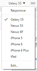 The device switching menu helps you quickly change device dimensions to see what your site will look like at each one.
