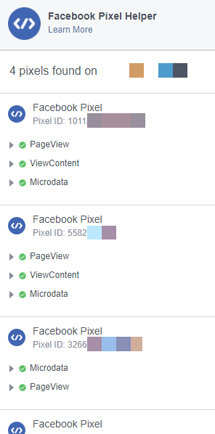 A view of the Facebook Pixel Helper on a site with multiple pixels