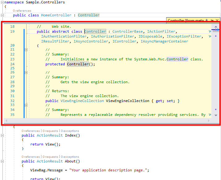 The Visual Studio Peek Definition window just seems to small to me, so I wanted it turned off.