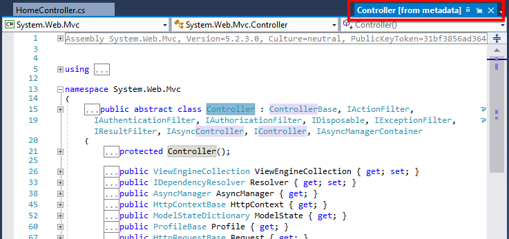 The Preview Tab in Visual Studio allows you to view code in a file before opening it as a full tab.